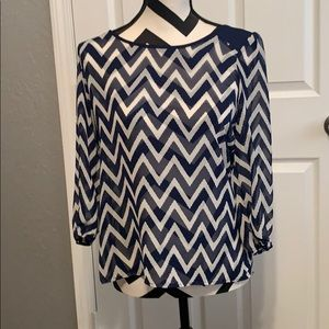 Tops - Blue and white chevron blouse